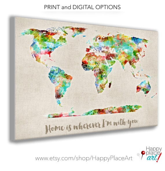 Very Bright Colorful World Map. Watercolor Map Style | Texture. Paint splashes, Custom Size & Personalised Text, Wedding map Guestbook