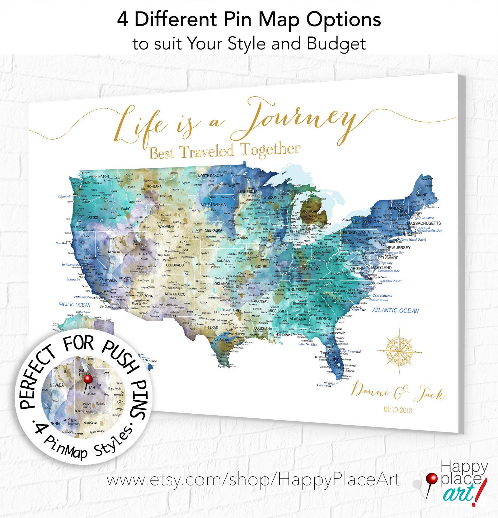 Personalized Us Travel Map USA Travel Map for Push Pins, Wall Art Map of United States