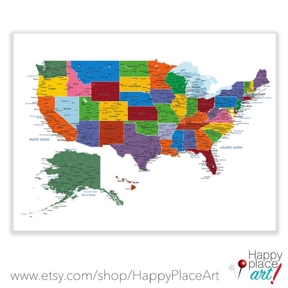 Detailed USA map with cities and states labels. US map print | Etsy