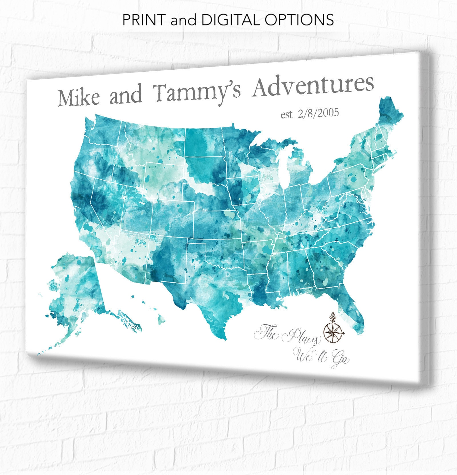 Large USA Push Pin Map, Canvas, Poster or Digital Download ...