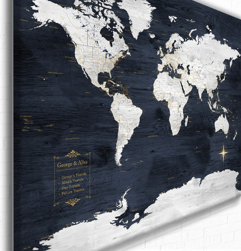 Anniversary Gift World Map Personalized Legend & Text Navy image 0