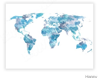 Shades of Blue, World Map, Watercolor world map, World map poster, Blue world map, Turquoise, World map Print, Large World Map printable Art