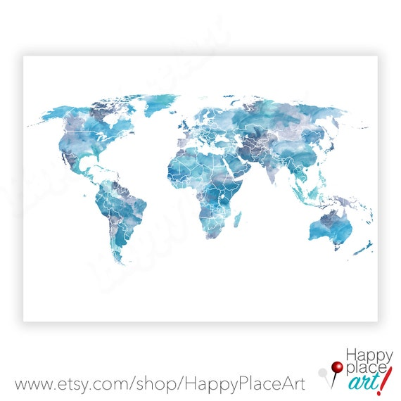 Shades of Blue, World Map, Watercolor world map, World map poster, Blue  world map, Turquoise, World map Print, Large World Map printable Art