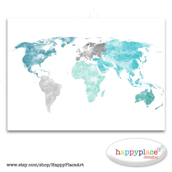 Large World Map Print Aqua Turquoise And Green Watercolor Etsy