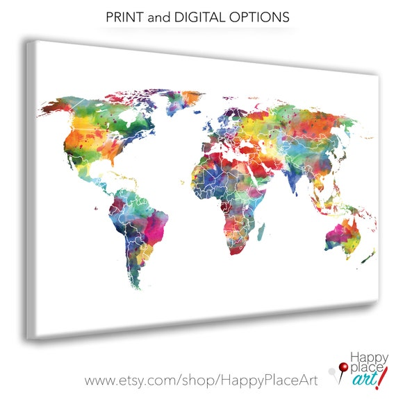 Watercolor World Map, World Map Wall Art Bright Nursery Wall Art Watercolor Map, Large Canvas map World map push pin Personalized travel map