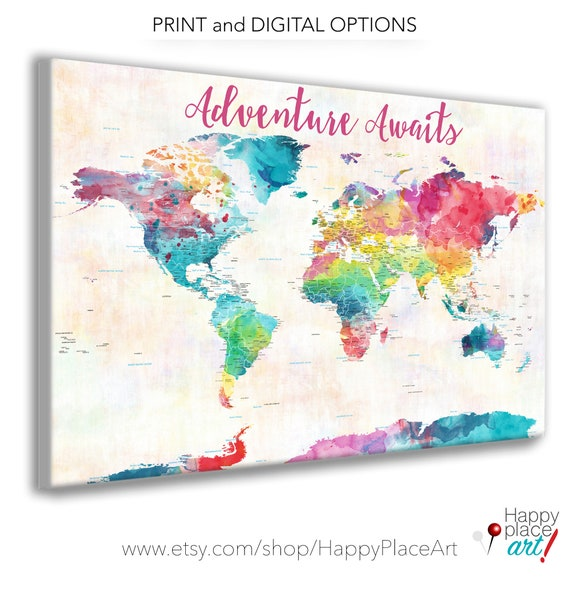 Personalized Gift for daughter, Watercolor World Map, Bright Colorful Push Pin Map, Personalised for baby girl shower, Baby Girl Nursery
