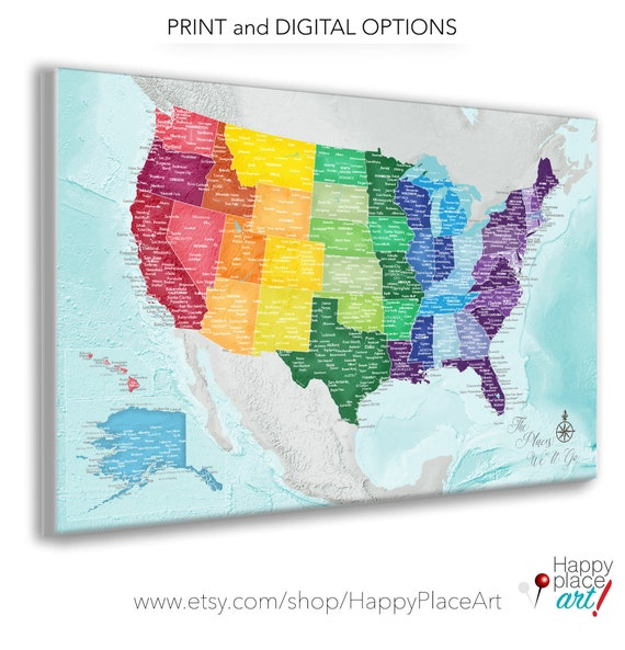 Colorful USA map, City Names, Lakes & Rivers, Playroom Primary color Wall  Art. Very Large USA Travel Map Push pin, Canvas Wall Map or Poster