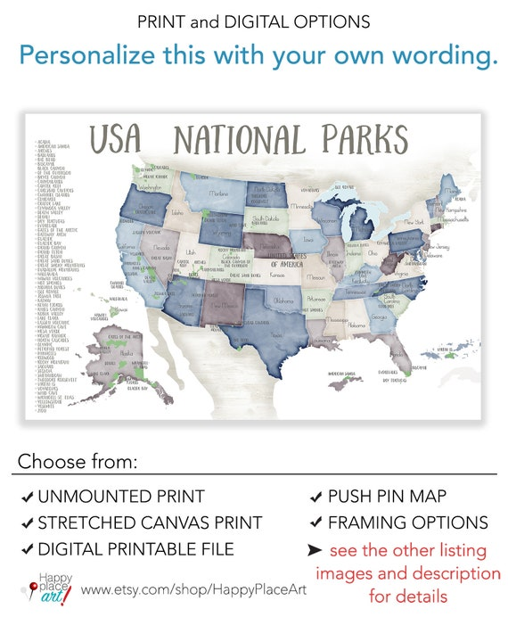 photo regarding Printable List of National Parks identify United states Nationwide Parks map for Force Pins, map with Checklist of Park Poster, Drive Maps for Mountaineering Lover Present, Countrywide Park map upon Pin Board