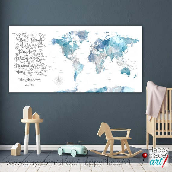 Personalized Soft Blue and Gray Wall Map, Large World map, Push pin Canvas Family Travel Map, Best Things In Life, Adventure Map with quote
