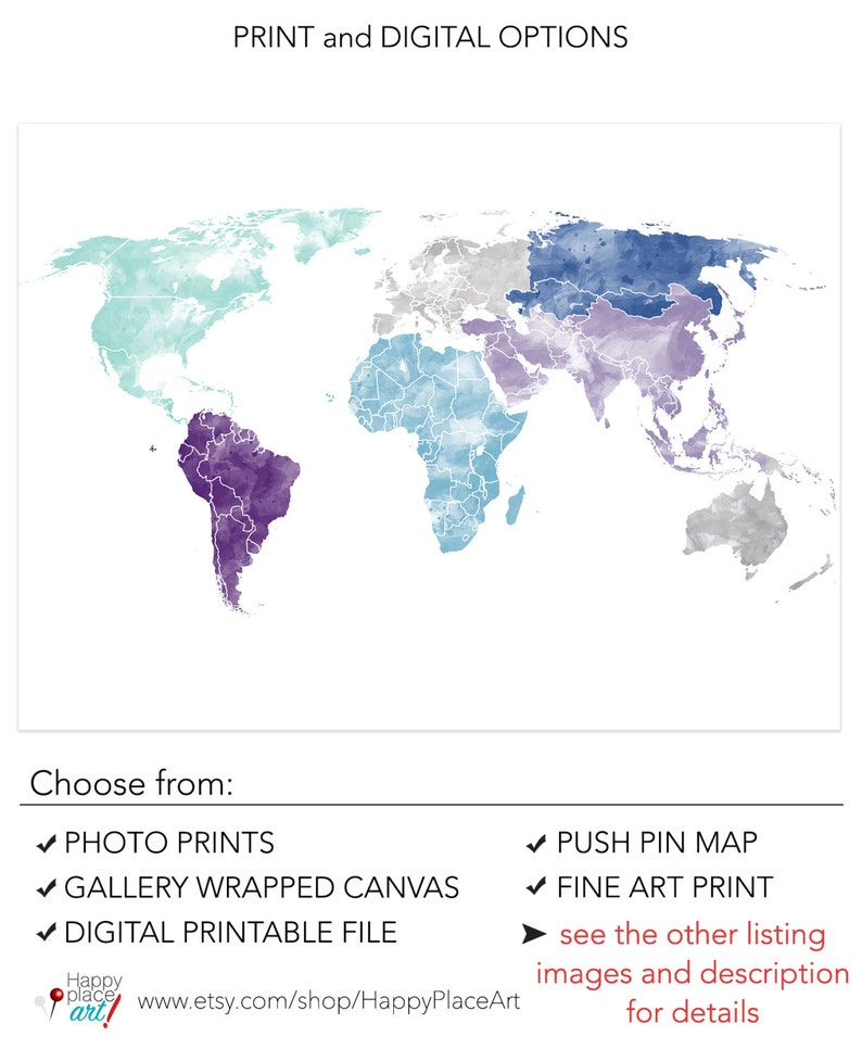 Large World Map Printable.Large World Map Wall Art Poster With Personalised Text Or Etsy