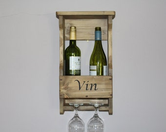 Rustic Wine Rack - holds upto 2 wine bottles and 2 wine glasses-handmade from recycled or fsc timber and stencilled with the word ''Vin''