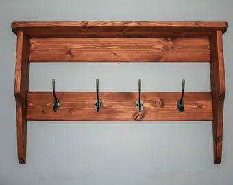 Handmade rustic wall rack/ coat rack