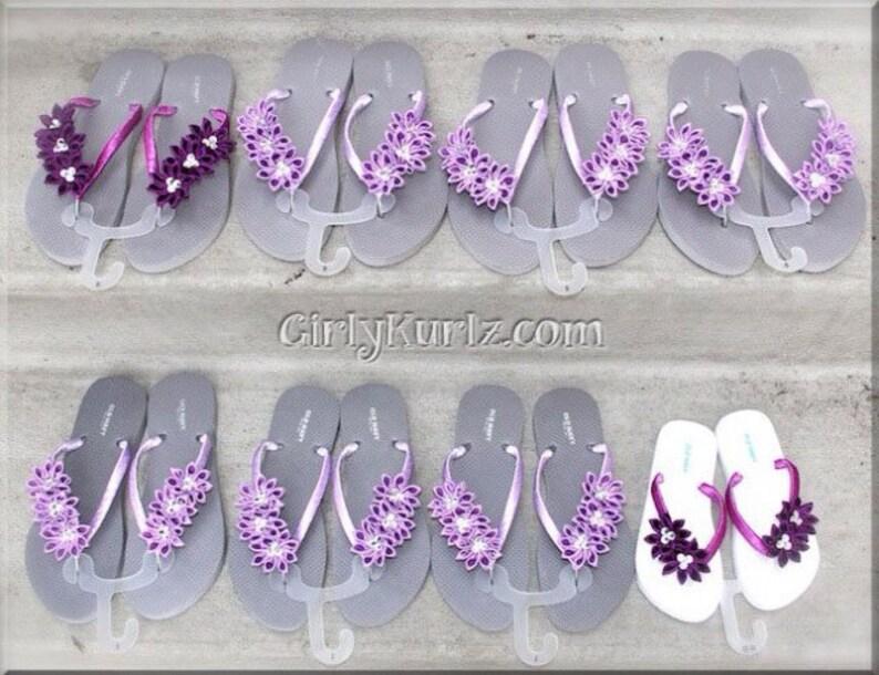 4d63eb337 Purple Kanzashi Flip Flops Rhinestone Flip Flops Wedding