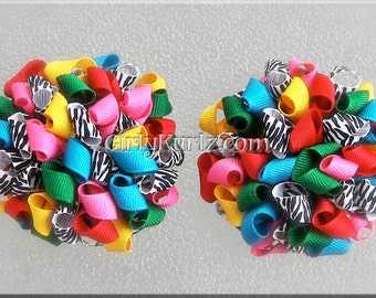 Madagascar Hair Bow, Zebra Hair Bow, Zebra Hair Clip, Kurly Pom Pom Hair Bow, Pom Pom Puff Bow, Hair Bow for Girls