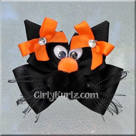 Purple Orange Halloween Black Cat Hair Bow Halloween Hair Bow Green Black Halloween Bow