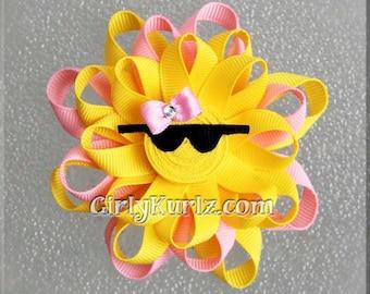 PINK Sun Hair Bow, Ribbon Sculpture Hair Clip, Loopy Hair Bow, Summer Hair Bow, Beach Hair Bow, Sun Hair Clip, Hair Bow for Girls