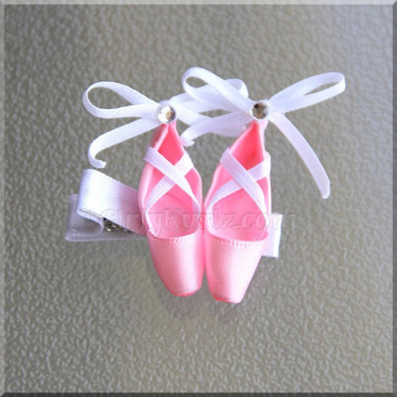 pink ballet slippers hair clip, dance hair bow, pointe shoe hair clip, ballet hair bow, ballerina hair bow, ballet hair clip