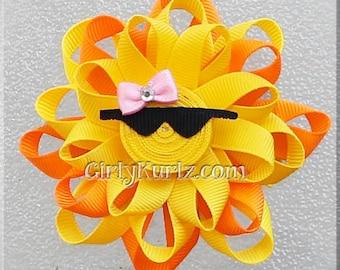 Sun Hair Bow, Sun Ribbon Sculpture Hair Clip, Loopy Hair Bow, Summer Hair Bow, Beach Hair Bow, Sun Bow