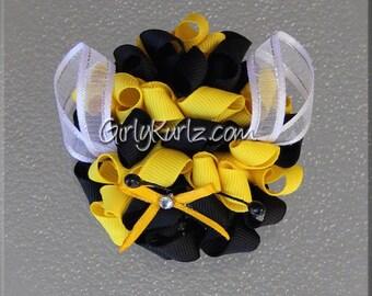 Bumble Bee Hair Bow, Bumble Bee Bow, Bumble Bee Hair Clip, Bumble Bee Kurly Pom Pom, Ribbon Sculpture