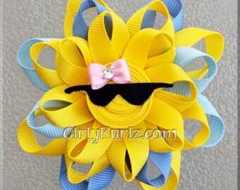 BLUE Sun Hair Bow, Ribbon Sculpture Hair Clip, Loopy Hair Bow, Summer Hair Bow, Beach Hair Bow, Hair Bow for Girls, Hair Accessories