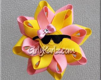 MINI PINK Sun Hair Bow, Sun Ribbon Sculpture Hair Clip, Loopy Hair Bow, Summer Hair Bow, Beach Hair Bow, Sun Bow