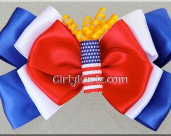 Firecracker Hair Bow, Patriotic Hair Bow, 4th of July Bow, 4th of July Hair Bow, 4th of July Hair Clip