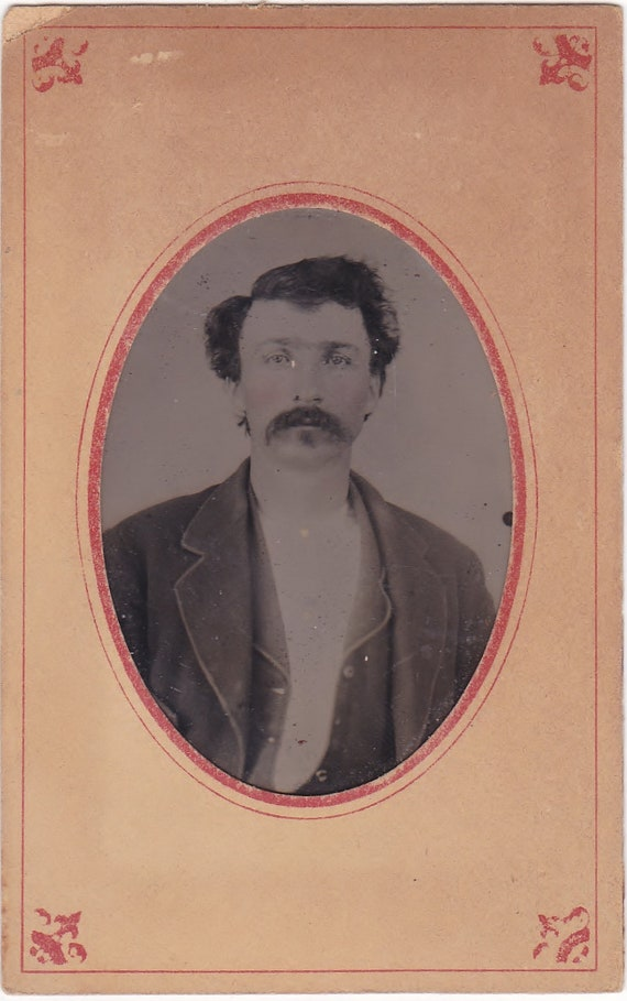 Civil War Era Tintype Photo of Western Man With Mustache Wild West Outlaw?