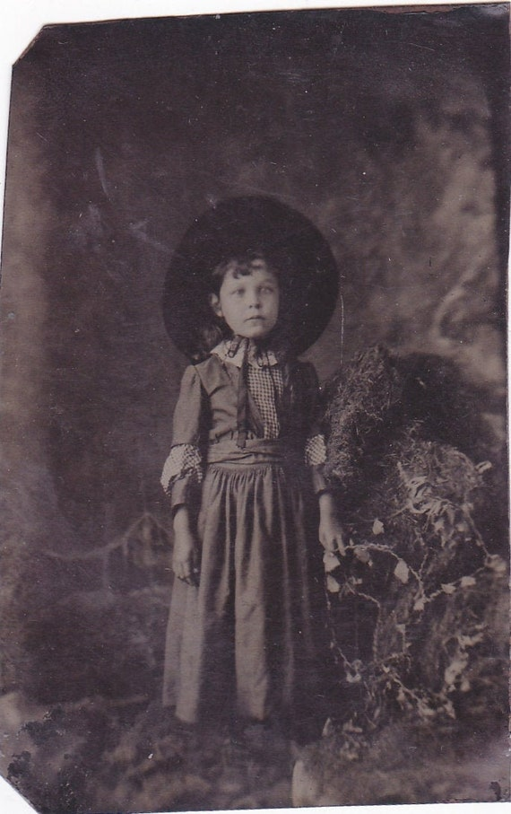 """Tintype Photo of Western Little Girl Wearing Dress and Large Bonnet Hat """"Little House on The Prairie"""""""