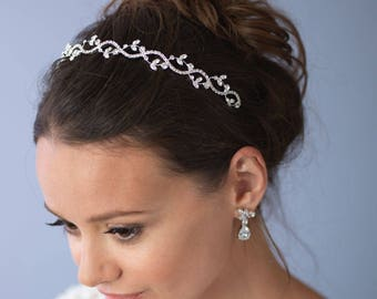 Bridal Headpiece,Floral Wedding Headband,Rhinestone Bridal Headpiece,Elegant Bridal Headpiece,Floral Headband, Bridal Accessories  ~TI-101
