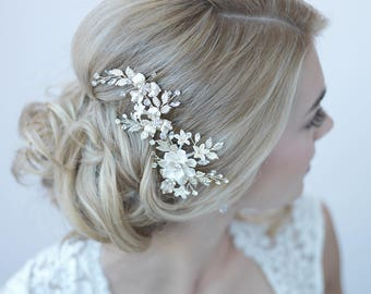 Silver Floral Bridal Clip, Floral Bridal Hair Clip, Flower Wedding Hair Comb, Bridal Hair Accessory, Floral Wedding Headpiece ~TC-2274