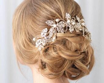 Gold Bridal Headpiece, Pearl Wedding Headpiece, Gold Bridal Back Piece, Gold Back Comb, Gold Back Piece,Pearl Comb,Pearl Headband ~TI-3269-G