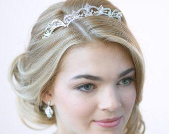 Rhinestone Wedding Tiara, Princess Tiara, Rhinestone Bridal Crown, Princess Crown, Vintage Wedding Headpiece, Rhinestone Tiara ~TI-179