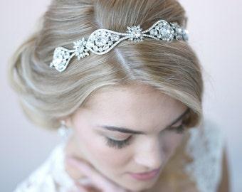 Rhinestone Bridal Headband, Vintage Wedding Headband, Bridal Hair Accessory, Bridal Headpiece, Bride Headband, Antique Headband  ~TI-3275