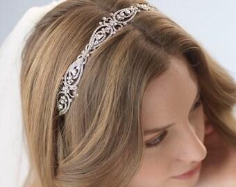 Antique Wedding Headband, Vintage Bridal Headband, Rhinestone Headpiece, Vintage Headband, Bride Headband, Bridal Hair Accessory ~TI-3215