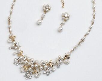 Gold Pearl Jewelry Set, Gold Bridal Jewelry Set, Gold Wedding Jewelry Set, Pearl Jewelry Set, Gold Bridal Jewelry, Wedding Jewelry ~JS-578