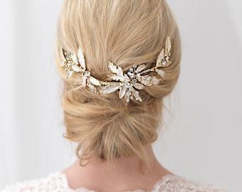 Gold Wedding Hair Clip, Floral Bridal Hair Clip, Gold Hair Clip, Rhinestone Hair Clip, Gold Hair Comb, Gold Headpiece, Hair Clip ~TC-2282