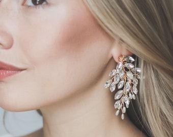 Floral Statement Earrings, Crystal Wedding Earrings, Statement Wedding Earrings, Floral Jewelry, Rhinestone Earrings, Wedding Earrings ~4309