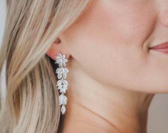 Wedding CZ Earrings, CZ Long Dangle Earrings, Bridal Earrings, Silver CZ Drop Earrings, Dangle Earrings, Silver Drop Earrings, Bride ~4301