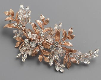 Rose Gold Floral Clip, Bridal Hair Clip, Rhinestone & Crystal Wedding Hair Accessory, Rose Gold Wedding Clip, Botanical Clip ~TC-2310