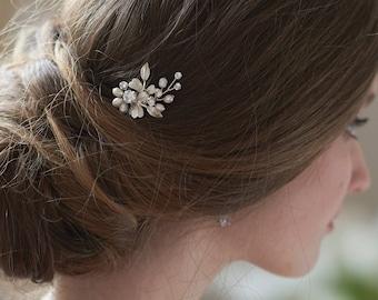 Freshwater Pearl Hair Pin, Bridal Hair Pin, Wedding Hair Pin, Hairpin for Wedding, Floral Hair Pin, Bridal Hair Accessory, Hair Pin ~TP-2816