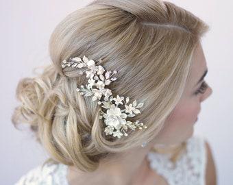 Ivory Floral Hair Clip, Bridal Hair Accessory, Bridal Hair Clip, Floral Bridal Clip, Wedding Headpiece, Bridal Hair Piece, Hair Clip ~2274