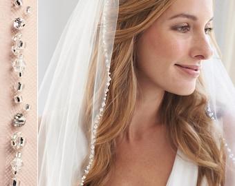 Beaded Wedding Veil, Rhinestone Bridal Veil, Ivory Veil, Elbow Length Veil, Fingertip Length Veil, Veil for Bride, Bridal Headpiece ~VB-5061