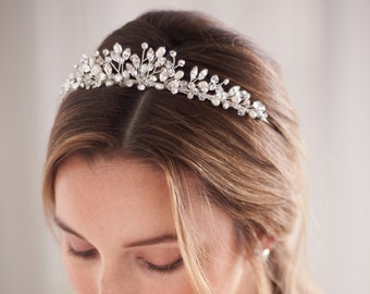 Pearl & Crystal Wedding Tiara, Bridal Tiara, Pearl Wedding Headpiece, Pearl Wedding Tiara, Crystal Wedding Crown, Bridal Headpiece ~ TI-3380