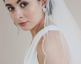 Scallop Edge Beaded Veil, Beaded Wedding Veil, Cathedral Wedding Veil, Scalloped Beaded Wedding Veil, Beaded Bridal Veil, Ivory Veil ~5096