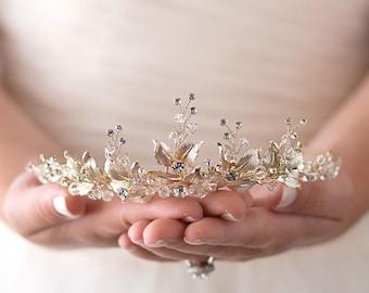 Floral Wedding Tiara, Floral Bridal Tiara, Wedding Tiara, Bridal Crown, Wedding Crown, Bridal Tiara, Floral Bridal Headpiece, Floral~3283