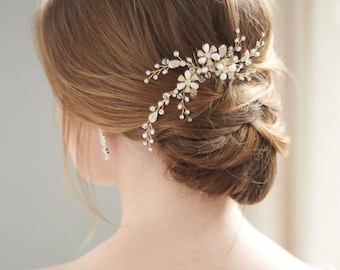Swarovski Crystal Hair Comb, Gold Wedding Hair Comb, Bridal Comb, Freshwater Pearl Hair Comb, Floral Hair Comb, Bridal Headpiece ~TC-2051