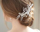 Opal Bridal Comb, Freshwater Pearl Headpiece, Pearl Wedding Comb,Rhinestone Hairpiece,Pearl Headpiece, Silver Bridal Hair Accessory ~TC-2415