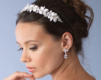 Floral Wedding Headband, Flower Bridal Headband, Rhinestone Headband, Silver Leaf Headband, Bridal Hair Accessory, Bridal Headpiece ~TI-3281