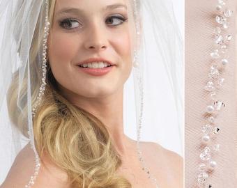 Pearl Wedding Veil, Crystal Bridal Veil, Beaded Veil, Ivory Veil, White Veil, Elbow Veil, Fingertip Veil, Cathedral Veil, Bridal Veil~5008