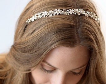 Floral Bridal Headband, Bridal Hair Accessory, Rhinestone Headband, Floral Bridal Headpiece, Wedding Headband, Bridal Headpiece ~TI-3137